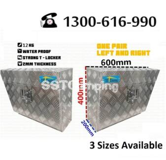 Aluminium Under Tray L600*W200*H400 SST Camping Toolbox Pair