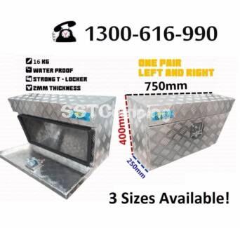 Aluminium Under Tray L750*W250*H400 SST Camping Toolbox Pair