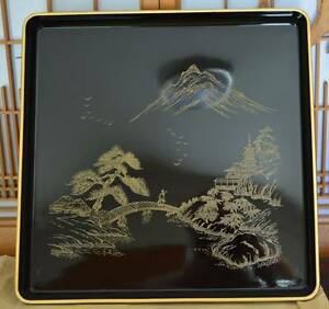 Japanese not Chinese 1930's Vintage Wood Gold Lacquer Tray Cleveland Redland Area Preview