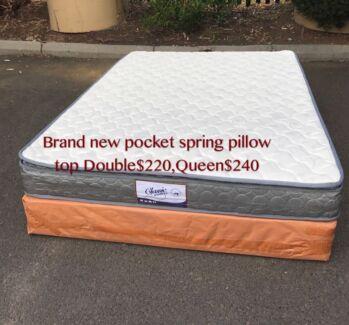Brand new pocket coil pillow top medium firmness mattress D$220,Q$240