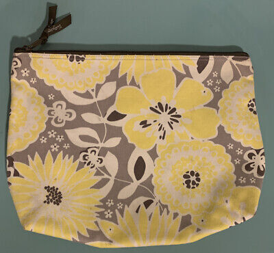 "Vintage Yellow Brown Vera Bradley Large Cosmetic Bag 12""x9"" EXC Vinyl Lined"
