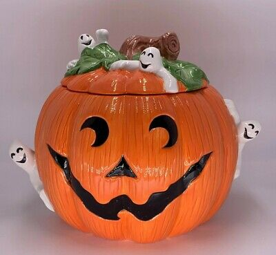 "FITZ & FLOYD GHOST PUMPKIN COOKIE JAR 1996 HALLOWEEN COLLECTION ""RARE"""