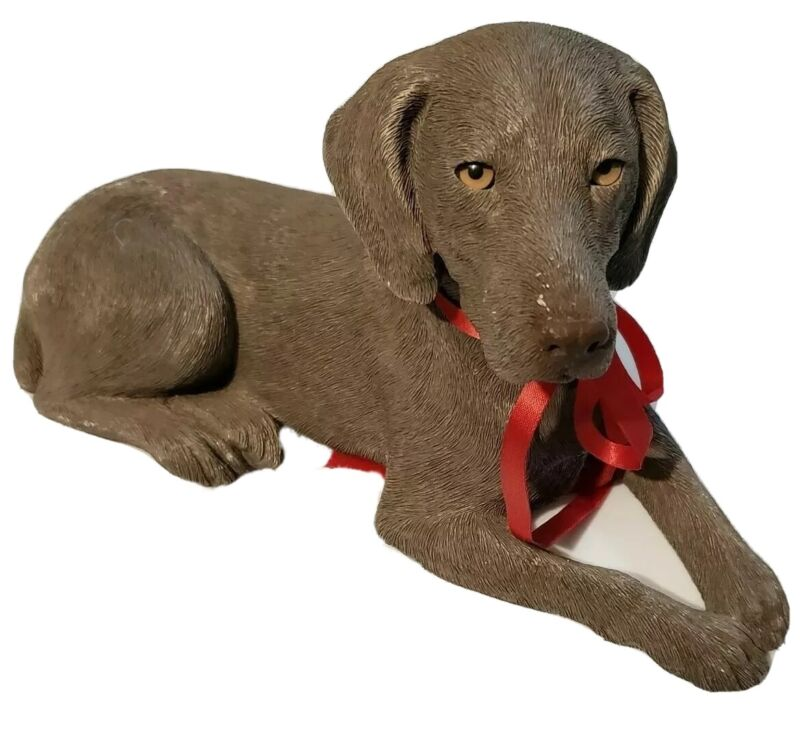 "1990 SANDICAST Weimaraner Dog 10""x6"" Figurine Hand Cast & Painted Statue 368"