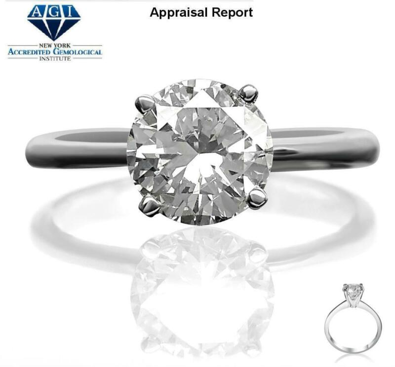 Four Prong Diamond Round Brilliant Ring 3 Ct 18 Kt White Gold Elegant Size 6 7 8