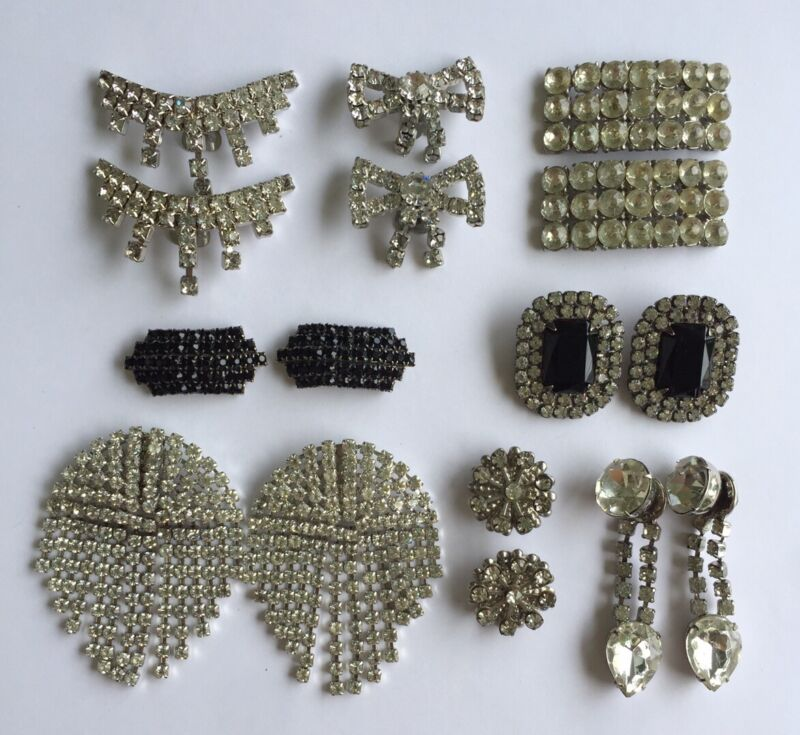 Group Of 8 Pairs Of Vintage Rhinestone Encrusted Shoe Clip Accessories