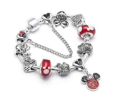 Disney Inspired Mickey Minnie Mouse Charms Bracelet with Charms Girls' Gift](Girls Charm Bracelets)
