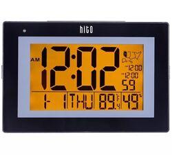 HITO 9.5 Large Atomic Self-setting Digital Desk Wall Clock w/ Stand, 6 Dual