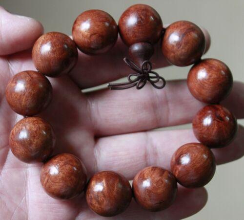 RARE Natural Chinese Hainan Huanghuali Preyer Buddha Beads Bracelet 正宗海南黄花梨佛珠手串
