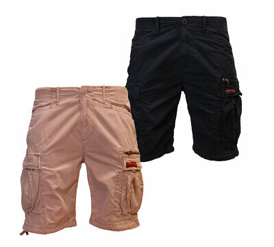 Superdry New Mens Summer Cargo Shorts 7 Pockets Zip Fly Sand Washed Black