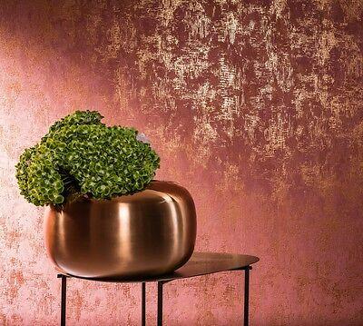 Tapete Marburg Nabucco 58004 / Vliestapete Uni Struktur Metallic Rot Gold