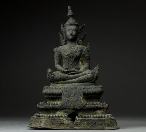 "Siam Antique Bronze Buddha Statue 12"" from Thailand"