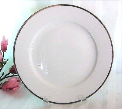 (2) PALATE & PLATE Elegant DINNER PLATES Fine Porcelain Platinum Silver Rim - Silver Dinner Plates
