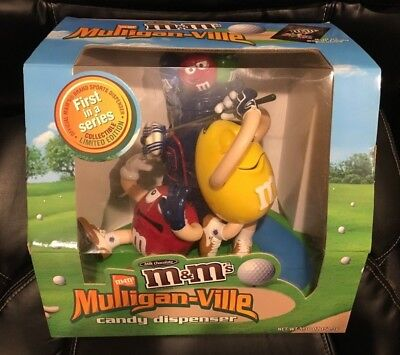 Rare M&M's Mulligan-Ville Golf Candy Dispenser Blue Glove Bag Argyle Hat Lake