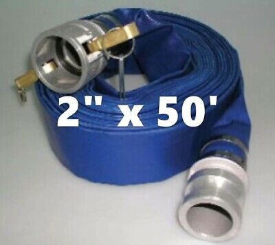 2 X 50 Blue Pvc Lay Flat Water Discharge Hose With Ce Cam Lock Fittings