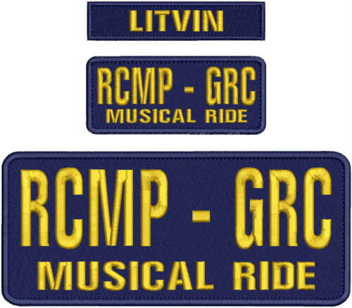 RCMP-GAC MUSICAL RIDE EMBROIDERY PATCH 4X10 & 2X5 HOOK ON BACK navy/gold