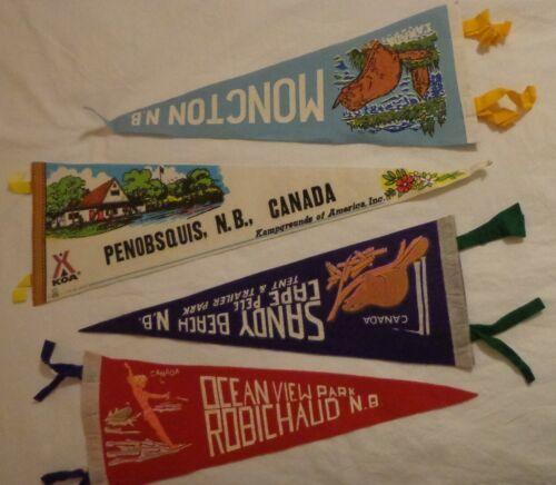 LOT 4 VINTAGE FELT PENNANT SOUVENIR NEW BRUNSWICK CANADA BEAVER WATER SKIING KOA
