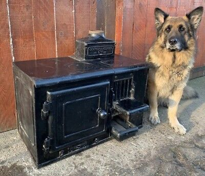 🔥 Vintage Antique COOPER & HEDGES Cast Iron Range Cooking Wood Burning Stove 🔥