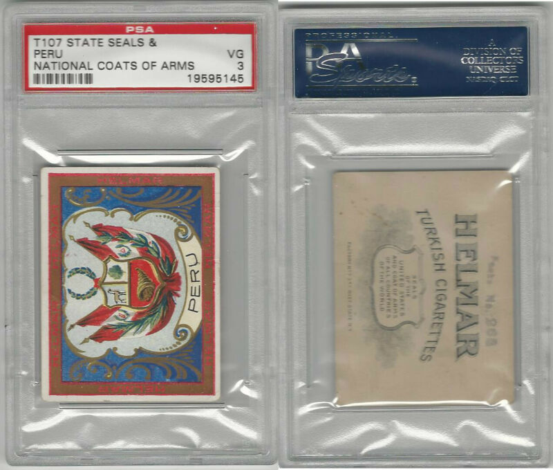 T107 Helmar, State Seals & National Coats of Arms, 1910, Peru, PSA 3 VG