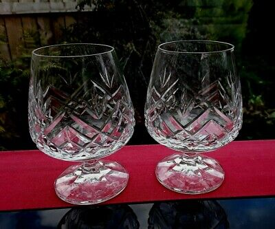 SET OF 2 HEAVY VINTAGE GIN & tonic GLASSES BALLOONS CUT CRYSTAL  BAILEYS VINTAGE