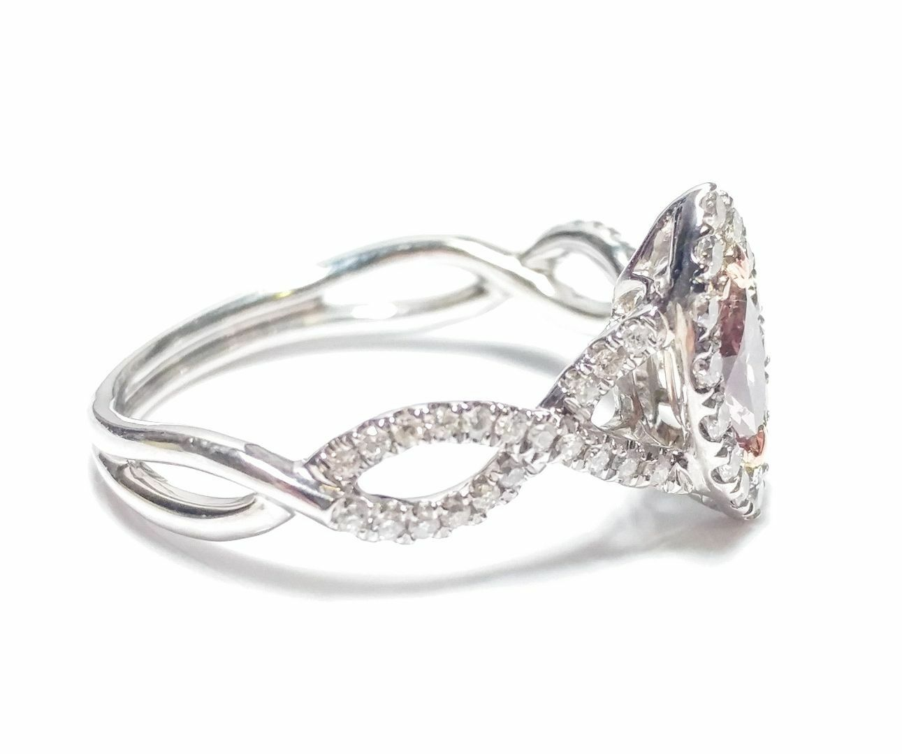 0.86ct Fancy Pink Diamond Engagement Ring GIA Marquise Hallo 18K White Gold Si1 2