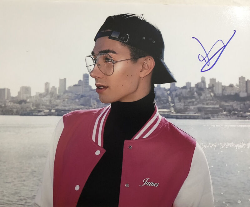 JAMES CHARLES HAND SIGNED 8x10 PHOTO AUTOGRAPHED YOUTUBE MAKEUP SISTERS RARE