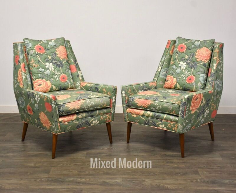 Mid Century Modern Floral Lounge Chairs- a Pair