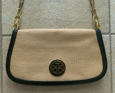 Tory Burch Cross Body Bag Straw and Black Leather Gold Chain - EUC