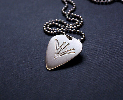 Handmade Etched Sterling Silver Chris Cornell Guitar Pick Necklace   Donation