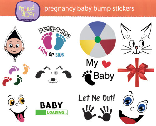 ProudBody Pregnancy BABY BUMP STICKERS Maternity Weekly Belly Keepsake - 12 pcs