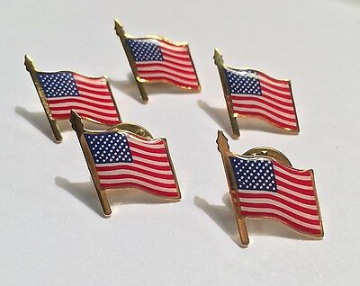 5 AMERICAN FLAG LAPEL PIN *MADE IN USA* Hat Tie Tack Badge Pinback Vest  - Flag Pin