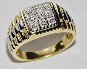MEN'S 9 CT YELLOW GOLD ON SILVER 0.10ct ROLEX RING - SIZE W
