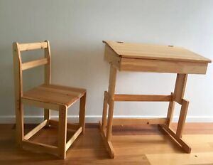 Brand new pine wood desk and chair adjustable