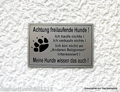 Achtung freilaufende Hunde,Hundeschild,Warnschild,Gravurschild,12 x 8 cm,