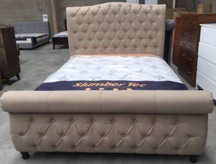 Brand New Luxury Grey/Beige Queen King Fabric Quality Bed Frame