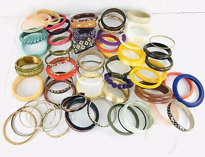 Large lot of plastic bangle bracelets vintage. Adult thin Wide Colorful  Metal