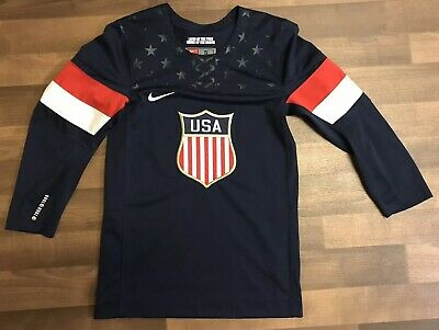 Nike USA Blue Hockey Jersey 2014 Embroidered Star Print Blue 🔥 Simply Amazing (Usa Hockey Jersey 2014)