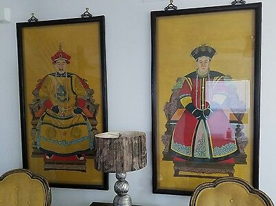 """Antique CHINESE EMPEROR and EMPRESS hand painting on silk 58"""" x 32"""""""