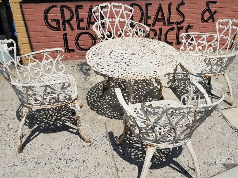 Antique Wrought Iron Cast Iron Patio Set Heart Pattern