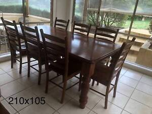 dining table with dining chairs, solid wood