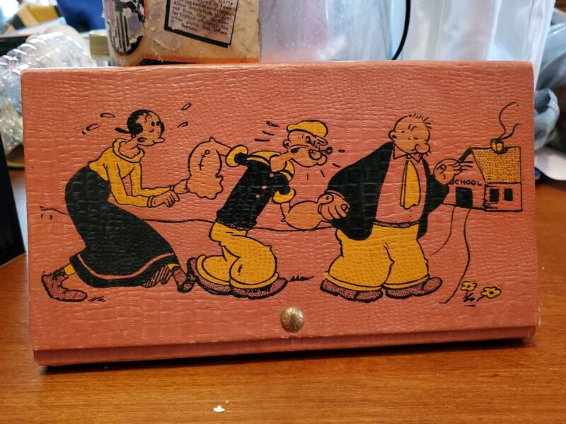 Vintage Popeye 1929 Pencil Art Case - Olive Whimpy w Map Crayons Brush