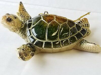 Cozumel Reef Green Sea Turtle Christmas Ornament Nautical Beach Coastal
