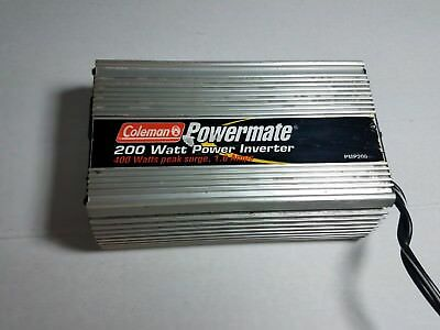Power Inverter Coleman Powermate 200 Watt Camping PMP200 400 watt peak 1.6 Amps Coleman Power Inverter