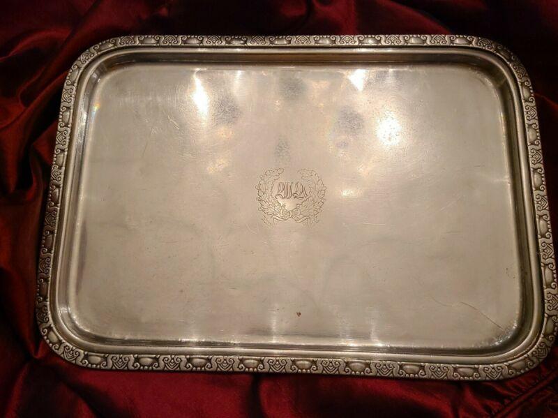 """WALDORF ASTORIA HOTEL NYC Silver 16.5"""" """"Room Service"""" Tray Circa 1935"""