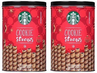 2 Packs Starbucks Cookie Straws Chocolate Rolled Wafers 40 ct 18.3 oz Each Pack Chocolate Roll Cookies