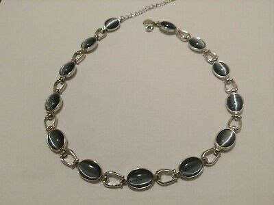 Vintage Sarah Coventry Necklace Rich Blue Tiger Eye Horse shoe Link Silver -