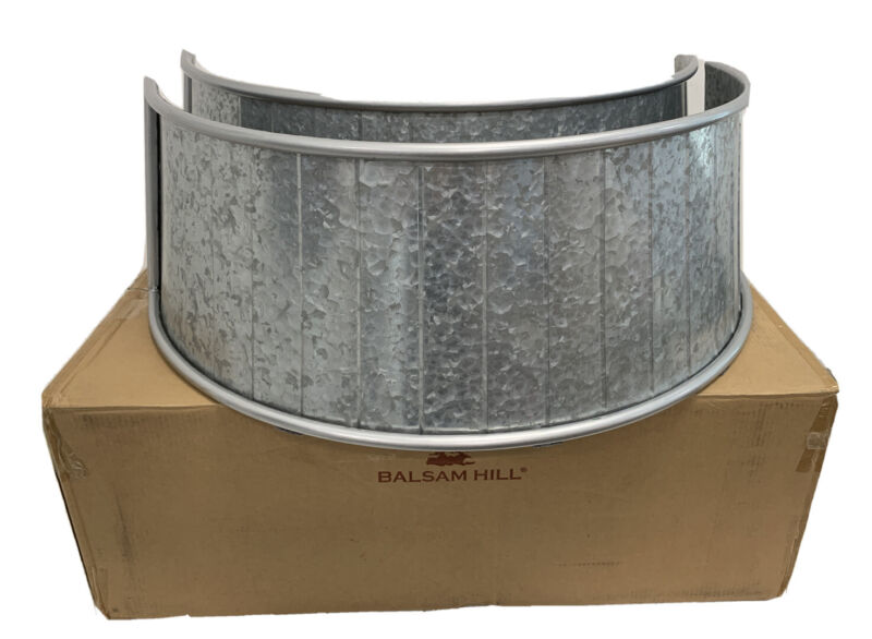 "Balsam Hill Galvanized Tree Collar 34"" in diameter x 12"" tall NEW/Open Box"