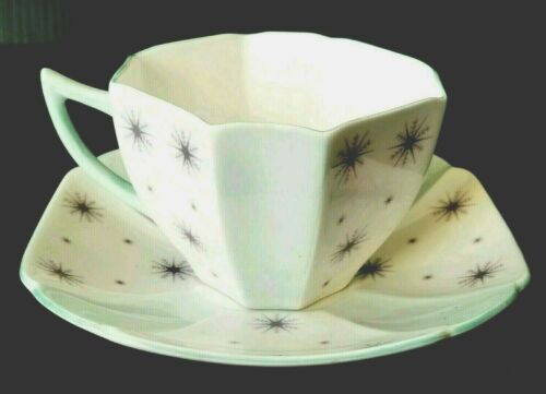 Vintage Shelley China Queen Anne Teacup and Saucer Pole Star in Pale Green RARE