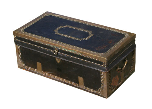 Antique Camphorwood Chest, leather and brass bound
