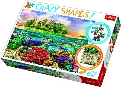 Trefl 600 Crazy Shapes Piece Adult Large Tropical Island Coral Jigsaw Puzzle NEW