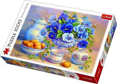 Trefl 1000 Piece Adult Large Blue Bouquet In Vase Picture Art Jigsaw Puzzle NEW